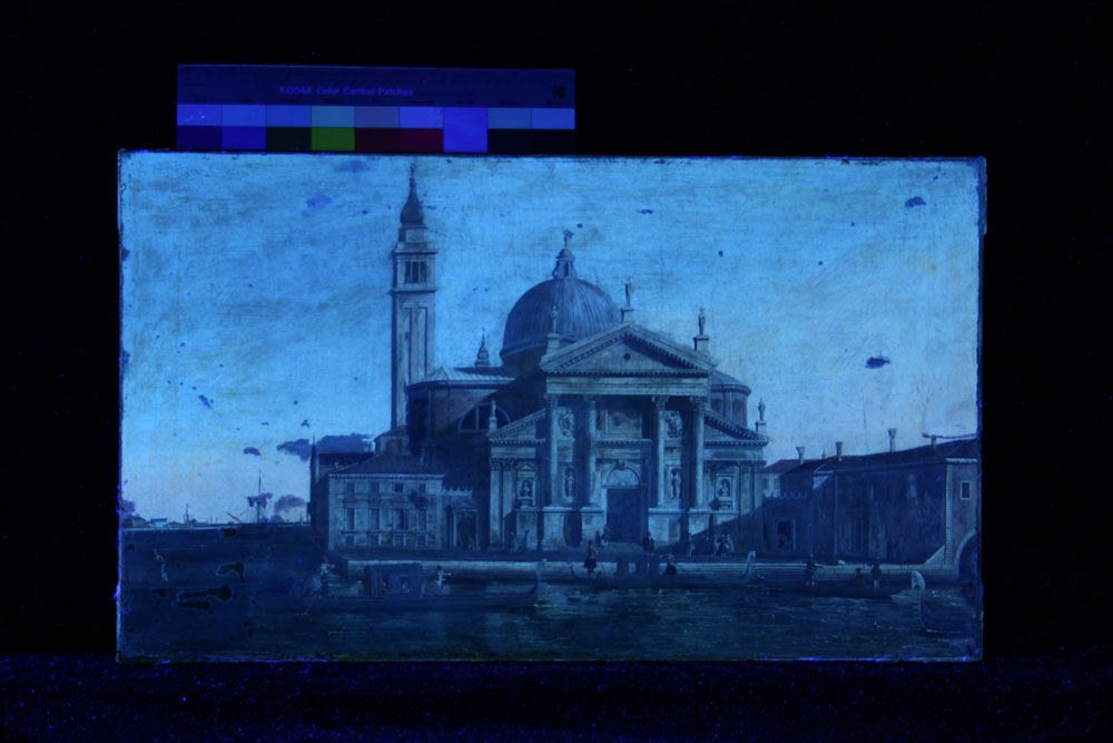 Painting under UV light, showing fluorescent varnish layer with losses and old retouchings.