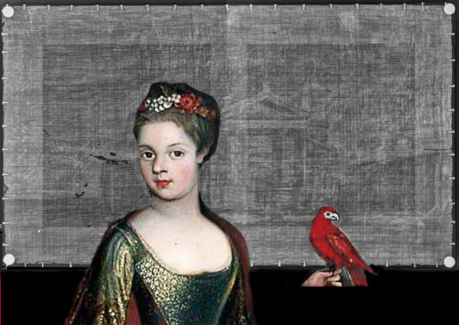 Details from Girl in Green Dress with Parrot overlaid over the painting. Unknown artist Girl in Green Dress with Parrot 1725–1735 (detail). York Art Gallery.