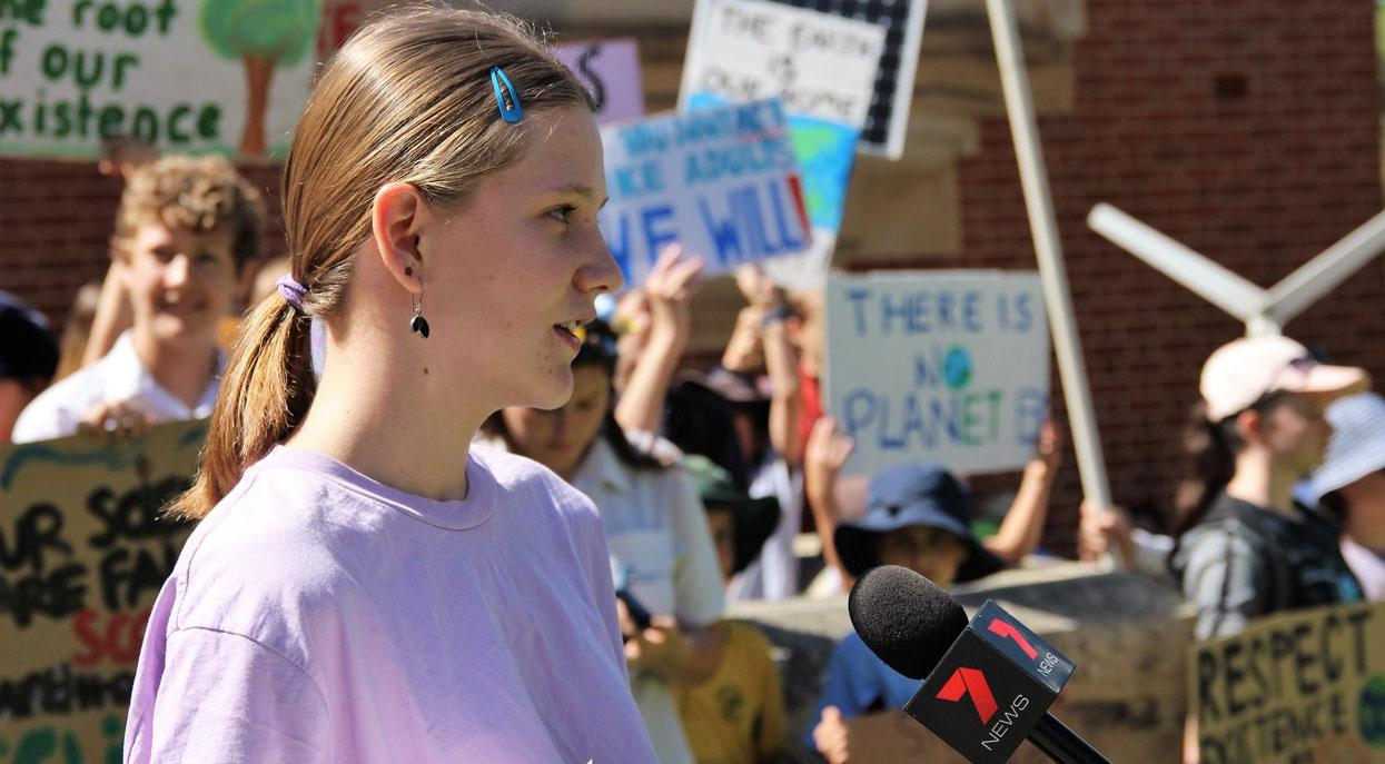 Makaela Rowe-Fox organiser for the School Strike 4 Climate movement.