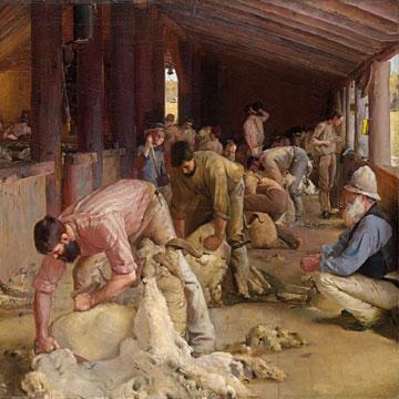 Tom Roberts Shearing the rams 1890 (detail).
