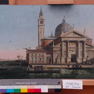 After Canaletto Church of S Giorgio Maggiore, Venice c1720-c1760 (detail).