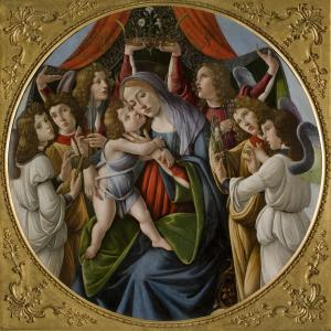 Sandro Botticelli and workshop (Italian, b. c1445, d.1510) Madonna and Child with Six Angels c1500 tempera and oil on board 165 x 165 cm (framed) 143 cm (diameter) Galleria Corsini, Florence