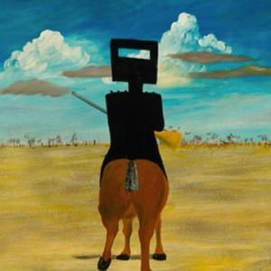 Sidney Nolan Ned Kelly 1946 (detail) from the Ned Kelly series 1946 – 1947. Enamel paint on composition board, 90.8 x 121.5 cm. Gift of Sunday Reed 1977. National Gallery of Australia collection.