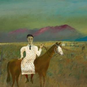 Sidney Nolan Steve Hart dressed as a girl 1947 from the Ned Kelly series 1946 – 1947 enamel paint on composition board 90.60 x 121.10 cm  Gift of Sunday Reed 1977 National Gallery of Australia