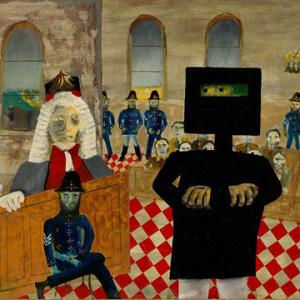 Sidney Nolan The trial 1947 from the Ned Kelly series 1946 – 1947. Enamel paint on composition board, 90.70 x 121.20 cm. Gift of Sunday Reed 1977. National Gallery of Australia collection.